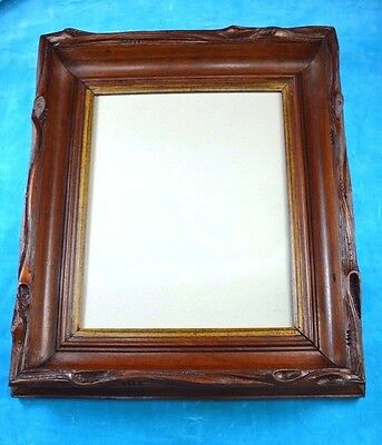 Antique Victorian Adirondack Hudson River Style Carved Walnut Deep Frame