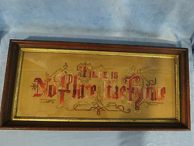 """Antique Embroidery Punch Paper Motto Sampler, """"There Is No Place Like Home"""""""