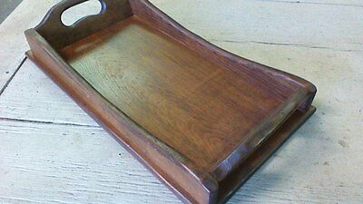 Vintage wooden tray, Great woodgrain! high sided, cut out handles, rectangular