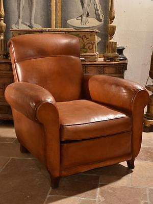 French leather club chair – 1960's French vintage armchair