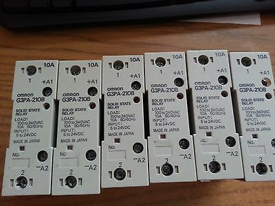Lot of 6 Omron G3PA-210B solid state relay 240 VAC 10 Amp