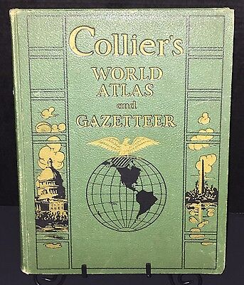 1942 Collier's World Atlas & Gazetteer Maps WWII Info + BONUS 1939 Atlantic MAP