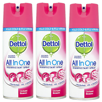 3 x Dettol surface Antiseptic Disinfectant Spray - Orchard Blossom