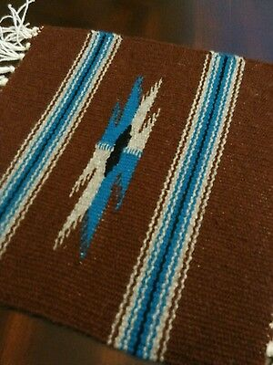 Chimayo 100% Wool Textile 10 X 10 Brown Weaving Made in Northern New Mexico
