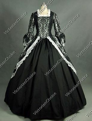 Renaissance Fair Dark Floral Brocade Period Dress Ball Gown Theatre Clothing 164
