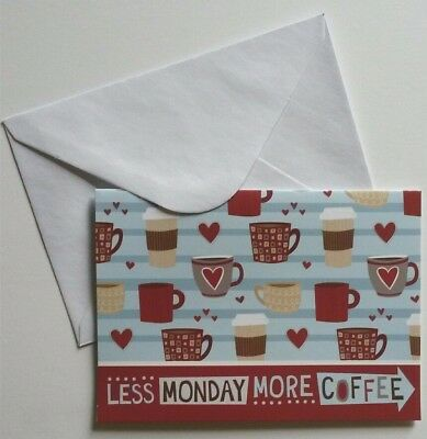 Set of 8 Blank Notecards & Envelopes ~  Less Monday More Coffee Hearts Cups