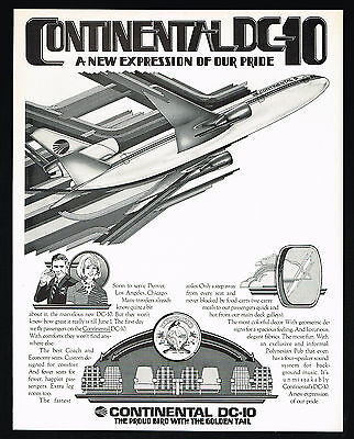 1972 Continental Airlines DC-10 DC10 Airplane Proud Bird Vintage Print Ad