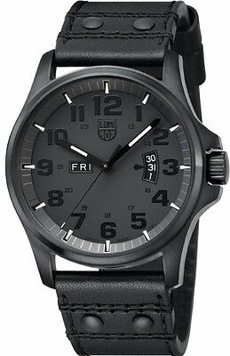 LUMINOX Men's 1879.BO Black MILITARY DAY DATE Leather Watch NEW FREE SHIPPING