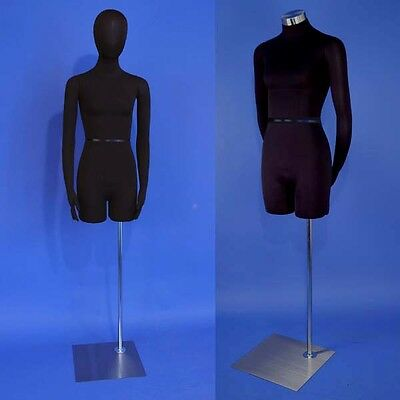 Brand New Black Dress Form Female Mannequin with Head and Flexible Arms F01H-SB