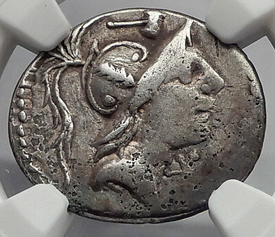 Roman Republic 96BC Mars Mallet Hero Ancient Silver Coin of Rome NGC i59941