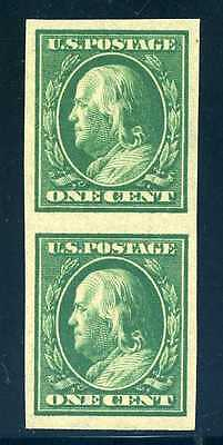 383V, 1c Green SL Watermark coil pair, Mint NH, Extremely Fine, Scott $20