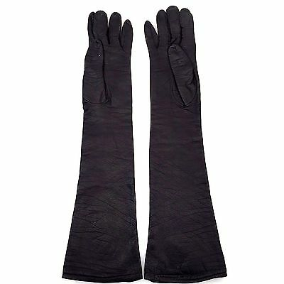 Christian Dior Long Black Soft Leather Evening Ladies Vintage Gloves Size Small