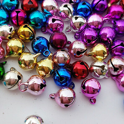 50pcs Copper Colorful Jingle Bells for Decor Christmas Crafts Loose Beads 5 Size