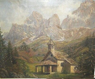 ANTIQUE 1800s OIL ON CANVAS LARGE PAINTING CHRISTIAN CHURCH IN THE ALPS SIGNED
