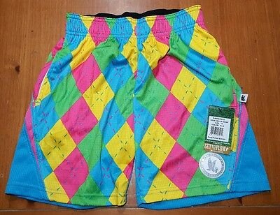 Flow Society Shorts NEON ARGYLE Lacrosse Soccer Youth Kids SIZE XS Extra Small