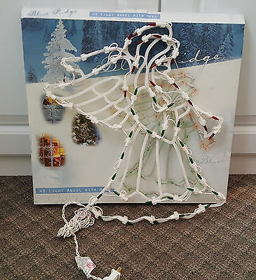 """17"""" Lighted 49 LED Angel with Horn Christmas Window Silhouette Decoration"""