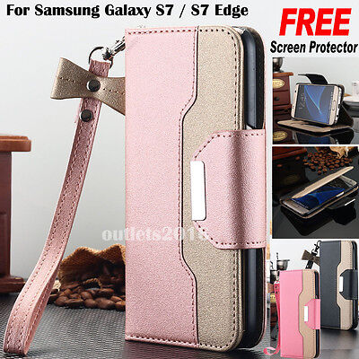 F Samsung Galaxy S8 Plus Note 8 S7 Wallet Case Leather Stand Flip Wristlet Cover