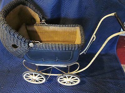 Doll Baby Carriage/Buggy Wicker Stroller Pram Victorian Canopy ~ VINTAGE ANTIQUE