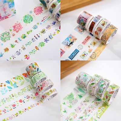 8pcs Vintage Washi Sticky Paper Masking Adhesive Tape Scrapbooking Sticker Tapes