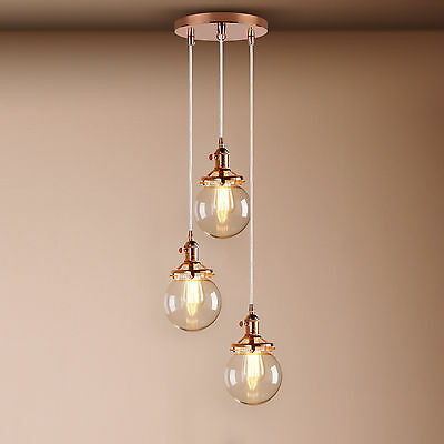 Cluster 1/3 Vintage Industrial Pendant Globe Glass Ceiling Light Lamp Clear Cord