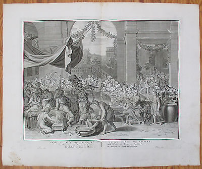 PICART: Large Impressive Bible Print Marriage in Cana - 1728