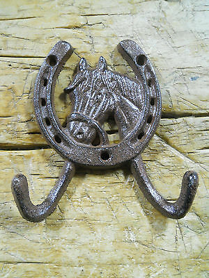 1 Cast Iron Rustic Ranch HORSE HEAD 2 HOOK Coat Hooks Rack Towel HorseShoe
