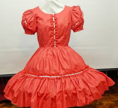 Red W/ Lace And Silver Square Dance Dress