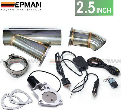 "2.5"" inch Exhaust Bypass Valve electric  stainless cut out y-pipe remote switch"
