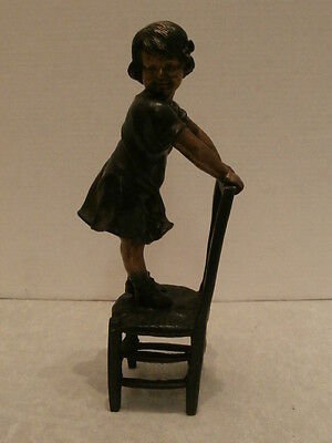 Impressive Small Brass/bronze Figure Of A Girl On A Chair