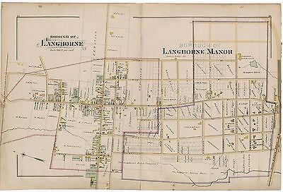 1891 Langhorne Manor, Bucks County, Pa, Friend's Meeting House, Copy Atlas Map