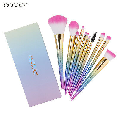 UK Docolor 10Pc Rainbow Make Up Brushes + Gift Box - Brush Set Unicorn Gift Idea
