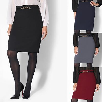 Womens Fitted Belted Stretch Pencil Midi Skirt Formal Business Office Work 4-14