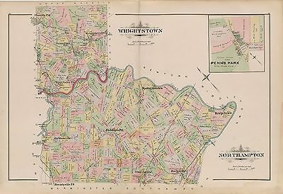 1891 Wrightstown, Northampton, Bucks County, Richboro Pennsylvania  Atlas Map