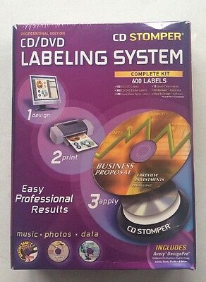 Avery CD Stomper CD/DVD Labeling System Complete Kit - 600 Labels NEW SEALED