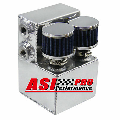 PRO Alloy Oil Catch Can Twin Breather Drag Drift Race Rally Street Custom