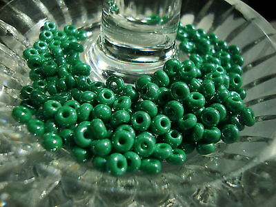 6/0 czech loose seed beads luster light greenl 40 grams
