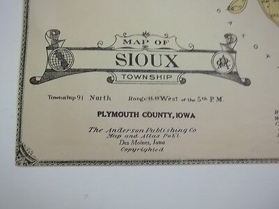 1921 Original Plymouth County Iowa Plat Map Sioux Township GET FRAME LeMars