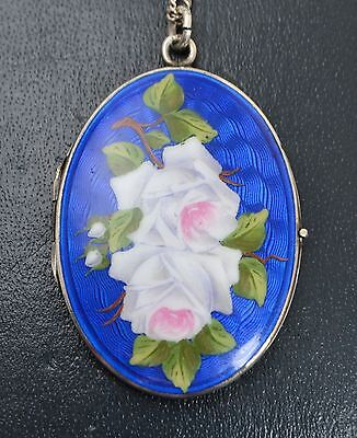 "Vintage SOLID SILVER & Enamel ROSES Flowers Unusual LOCKET Pendant on 25"" Chain"