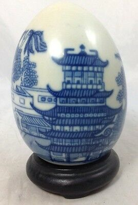 Beautiful Vintage Chinese Blue and White porcelain Egg