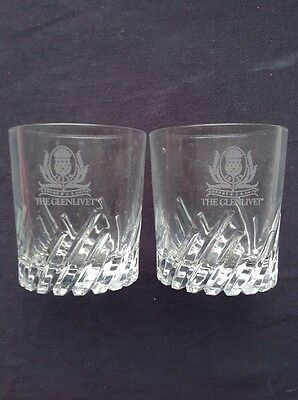 Two Glenlivet Scotch Whisky Glasses Etched with Retired Thistle Logo