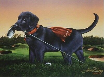 Phillip Crowe The Caddy Lab Puppy Golfing- 12 x 9 Print Signed