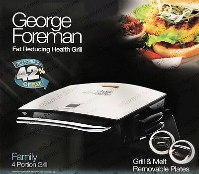 George Foreman 14525 Family 4 Portion Grill and Melt with Removable Plates