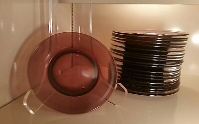 "20 Glass Plates Amethyst Salad Plates Finished Bottom Purple 8 1/2""  Beautiful!"