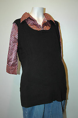 Motherhood Maternity Black and Graphic Print Sweater Size XL Extra Large