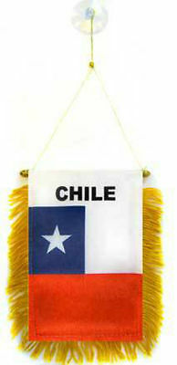 "Wholesale lot 3 Chile Mini Flag 4""x6"" Window Banner w/ suction cup"