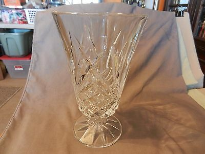 Large American Deep Cut Crystal Pedestal Vase Thatched Pattern