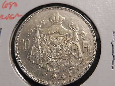 1934 Belgium Silver 20 Francs KM #104.1; Lightly Circulated