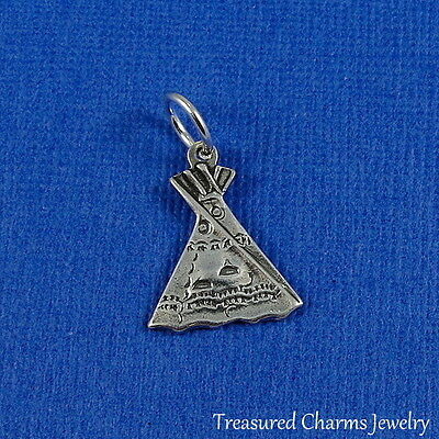 .925 Sterling Silver TEPEE CHARM Native American INDIAN TEEPEE TIPI PENDANT *NEW