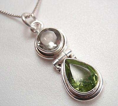 Peridot and Green Amethyst Faceted Double Gem 925 Sterling Silver Pendant