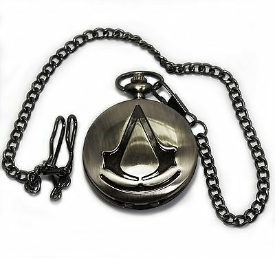 Quartz Pocket Watch Or Necklace Pendant Assassin's Creed Gamer Black Tone